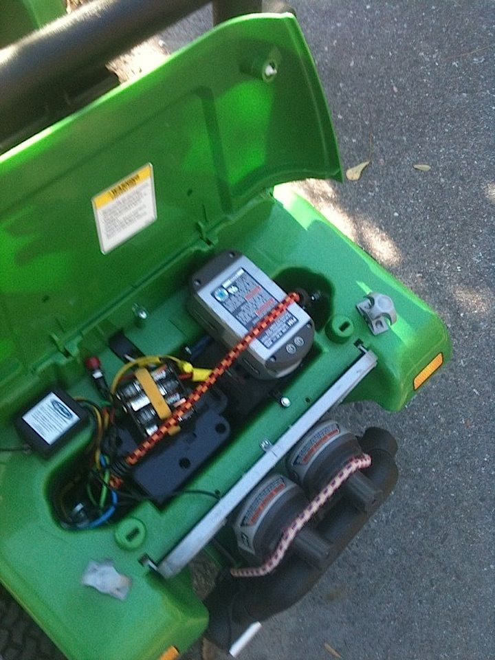 Relocated Ryobi Lithium Battery Under Jeep Hood Power Wheels
