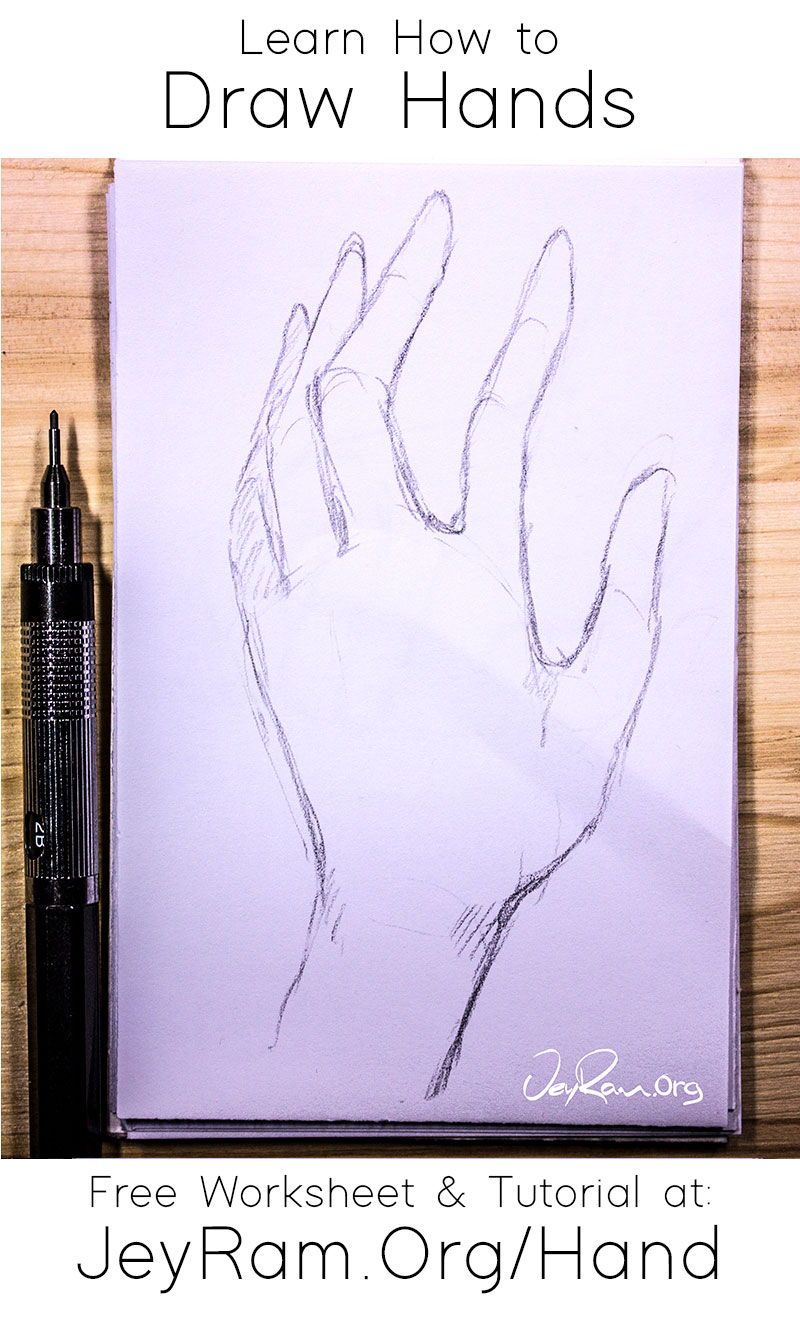 How To Draw Hands Free Worksheet Step By Step Tutorial In 2020 How To Draw Hands Tutorial Sketching Techniques