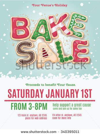 Christmas Holiday Bake Flyer Template With Hand Drawn Cookie Letters