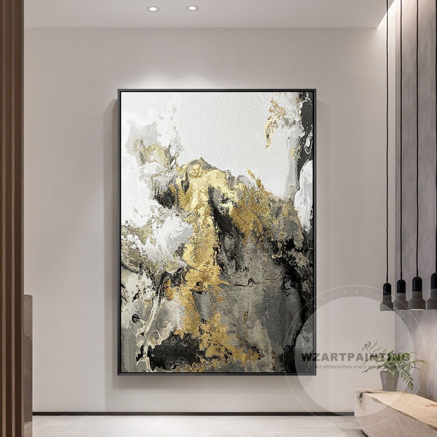 Framed Wall Art Modern Abstract Landscape Gold Gray Wall Art Etsy In 2020 Grey Wall Art Etsy Wall Art Wall Art Pictures