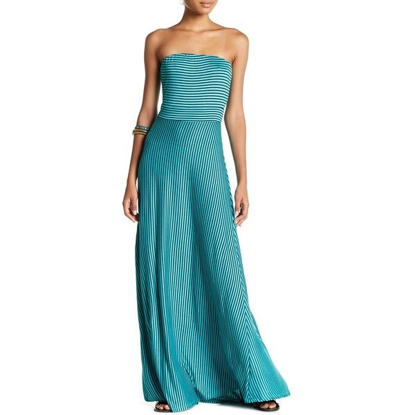 WEST KEI Strapless Stripe Maxi Dress ($25) ❤ liked on Polyvore featuring dresses, blue bandeau dress, blue strapless dress, blue striped dress, strapless maxi dress and strapless bandeau dress