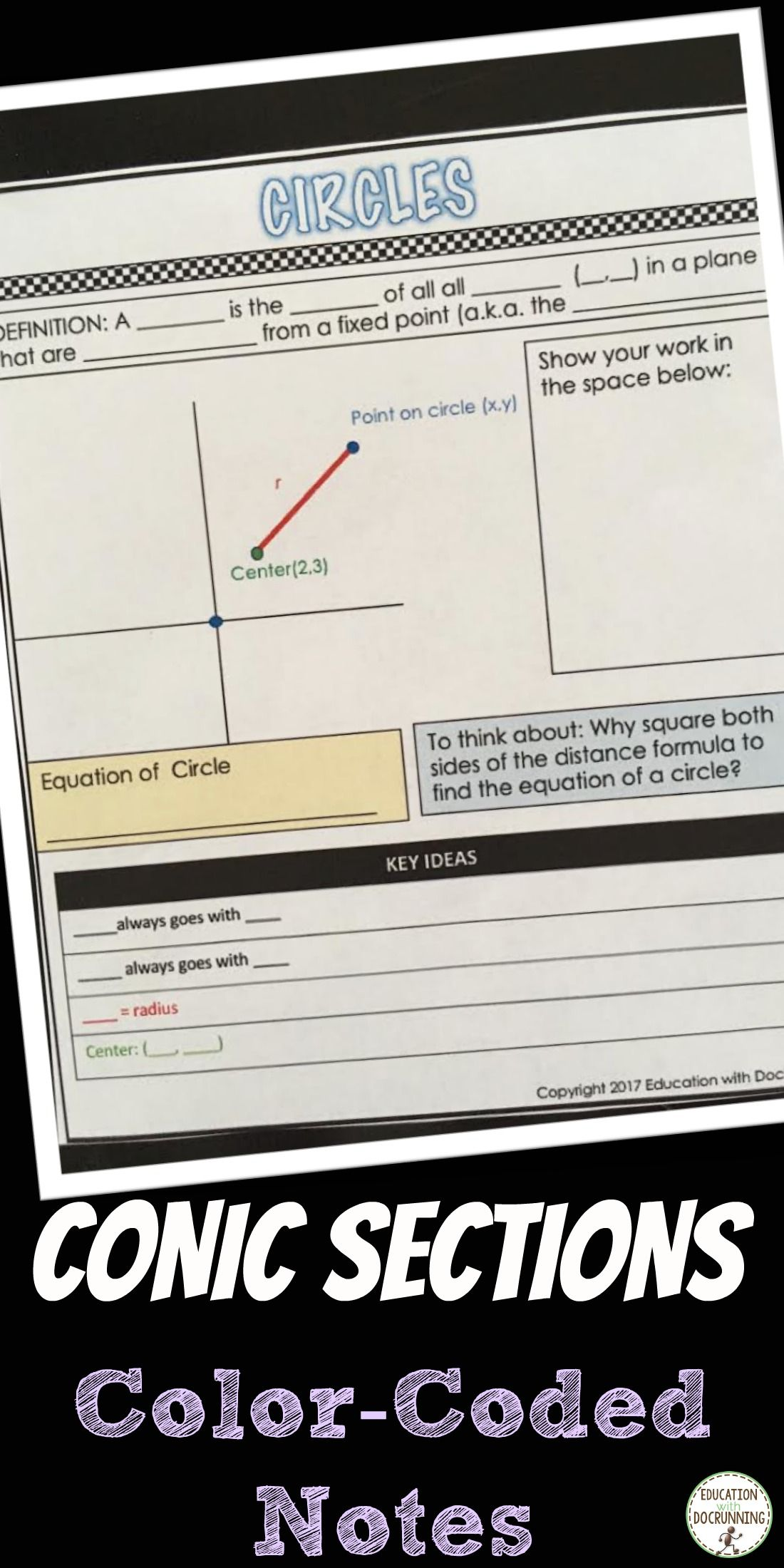 Equation Of A Circle Notes Interactive Notebook Color