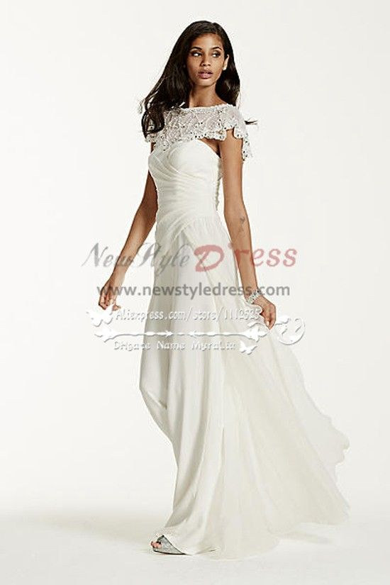 Beautiful Chiffon Bridal Jumpsuit With Exquisite Hand Beaded Cape Wps 038