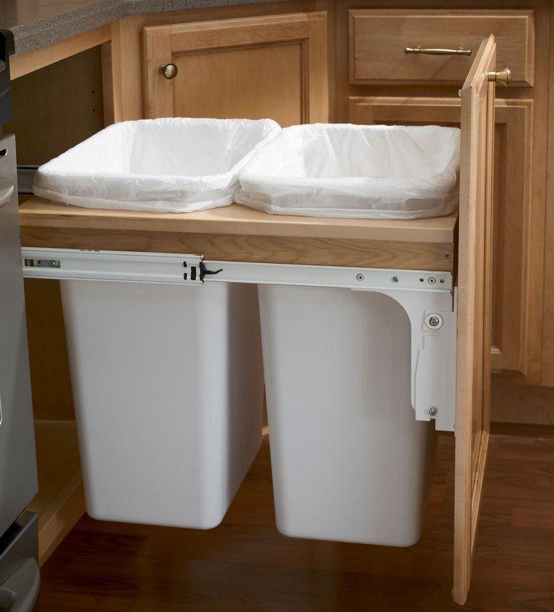 Storage solutions details base top mount wastebasket for Kraftmaid storage solutions