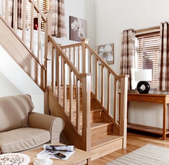 Beautiful Interior Staircase Ideas And Newel Post Designs: Dog Leg Style White Oak Staircase 41mm Square Chamfered