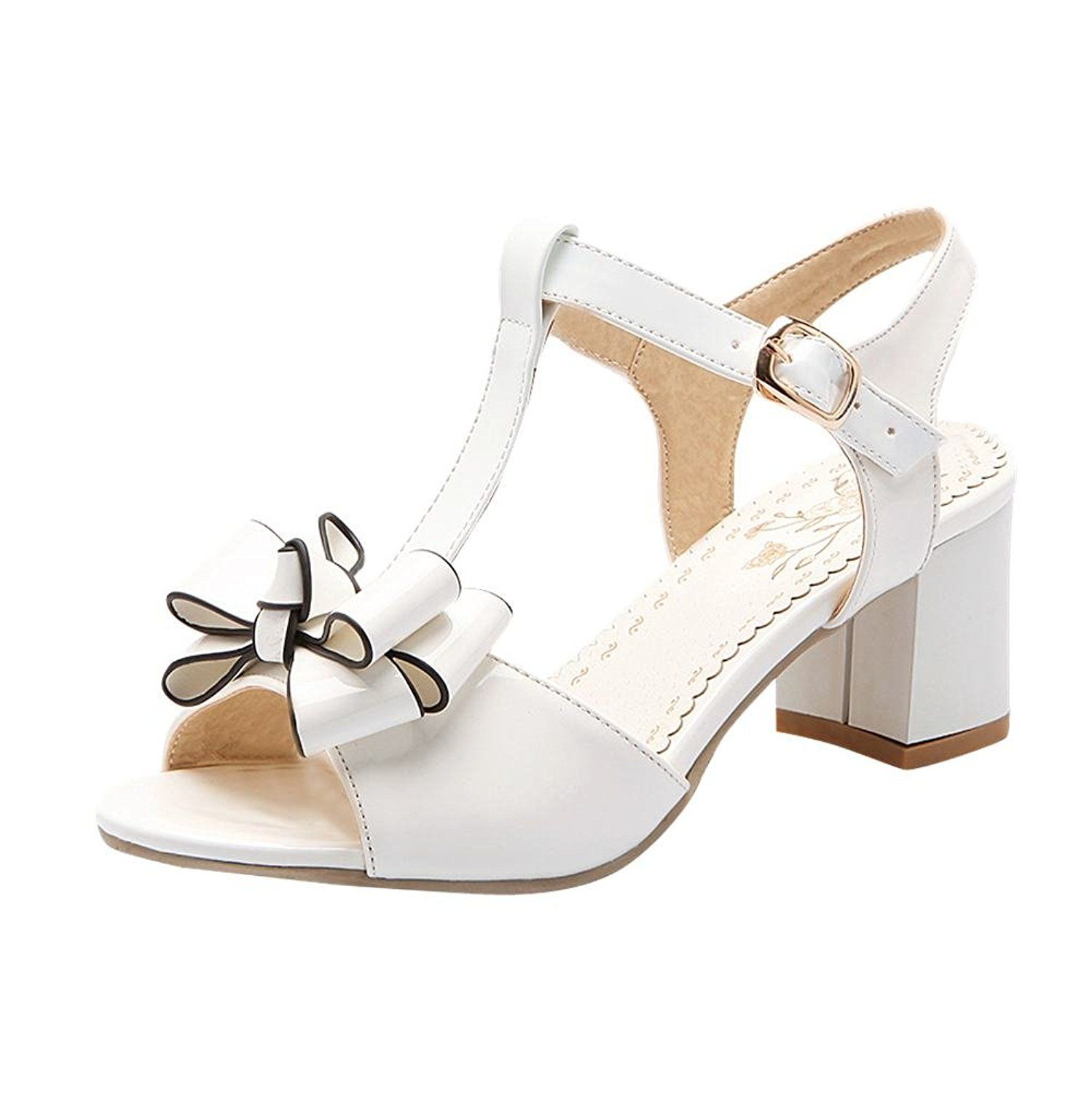 e6e8445f8d9 Latasa Womens Fashion Faux Patent-Leather Cute Bow Peep-Toe Mid Chunky Heel  T-Strap Casual Dress Sandals   Click image for more details. (Amazon  affiliate ...