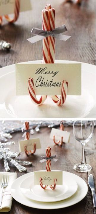 diy custom christmas card holders made with candy canes is a fantastic holiday party table setting idea