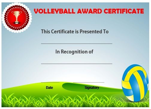 Volleyball award certificate template Volleyball certificates - free printable certificate templates word