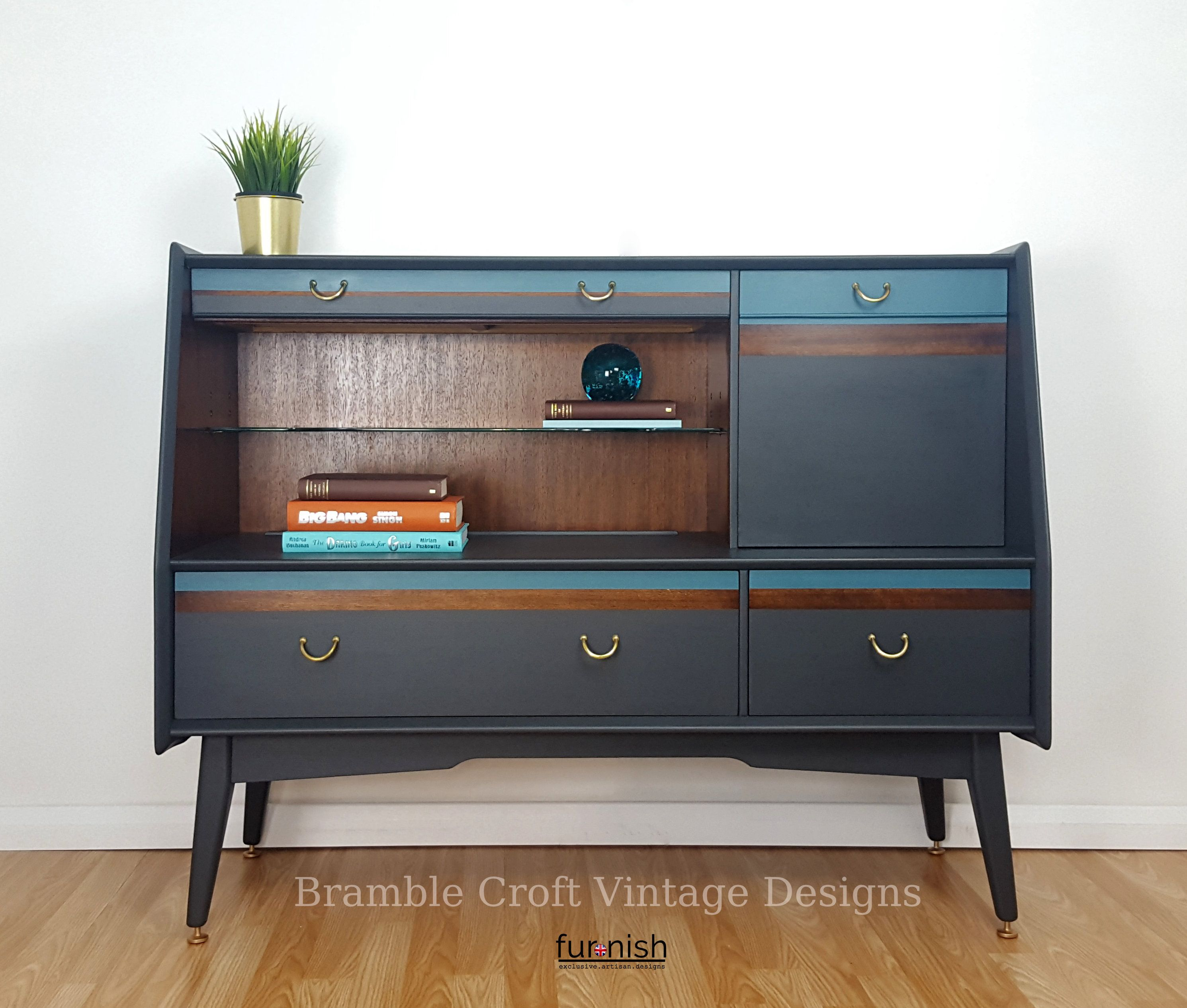 G Plan Drinks Cabinet In Ash And Seaside Blue Planer Furniture Cocktail