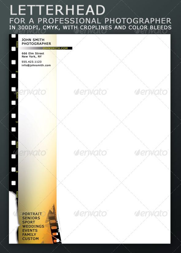 letterhead for a professional photographer stationery print