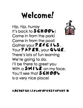 Welcome Back to School Poem or Letter, Poetry, Literacy