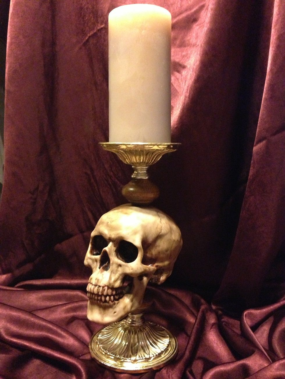 These human skull replica candle holders are to die for excellent