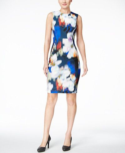 5cbecd33d0 Calvin Klein Blurred Floral-Print Scuba Sheath Dress