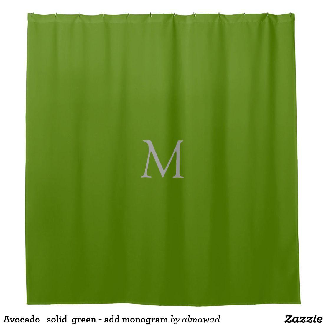 Avocado Solid Green Add Monogram Shower Curtain Zazzle Com