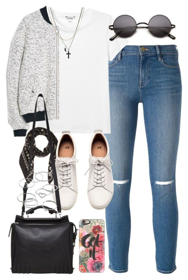 """Outfit with a bomber jacket"" by ferned ❤ liked on Polyvore featuring Frame Denim, Monki, MANGO, Coach, H&M, Casetify, 3.1 Phillip Lim, ASOS and LC Lauren Conrad"