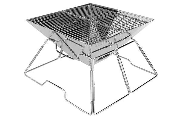 Backyards Portable Camping Grill Backpacking Survival Folding Compact Stainless Steel Charcoal Barbeque Grill for Campers