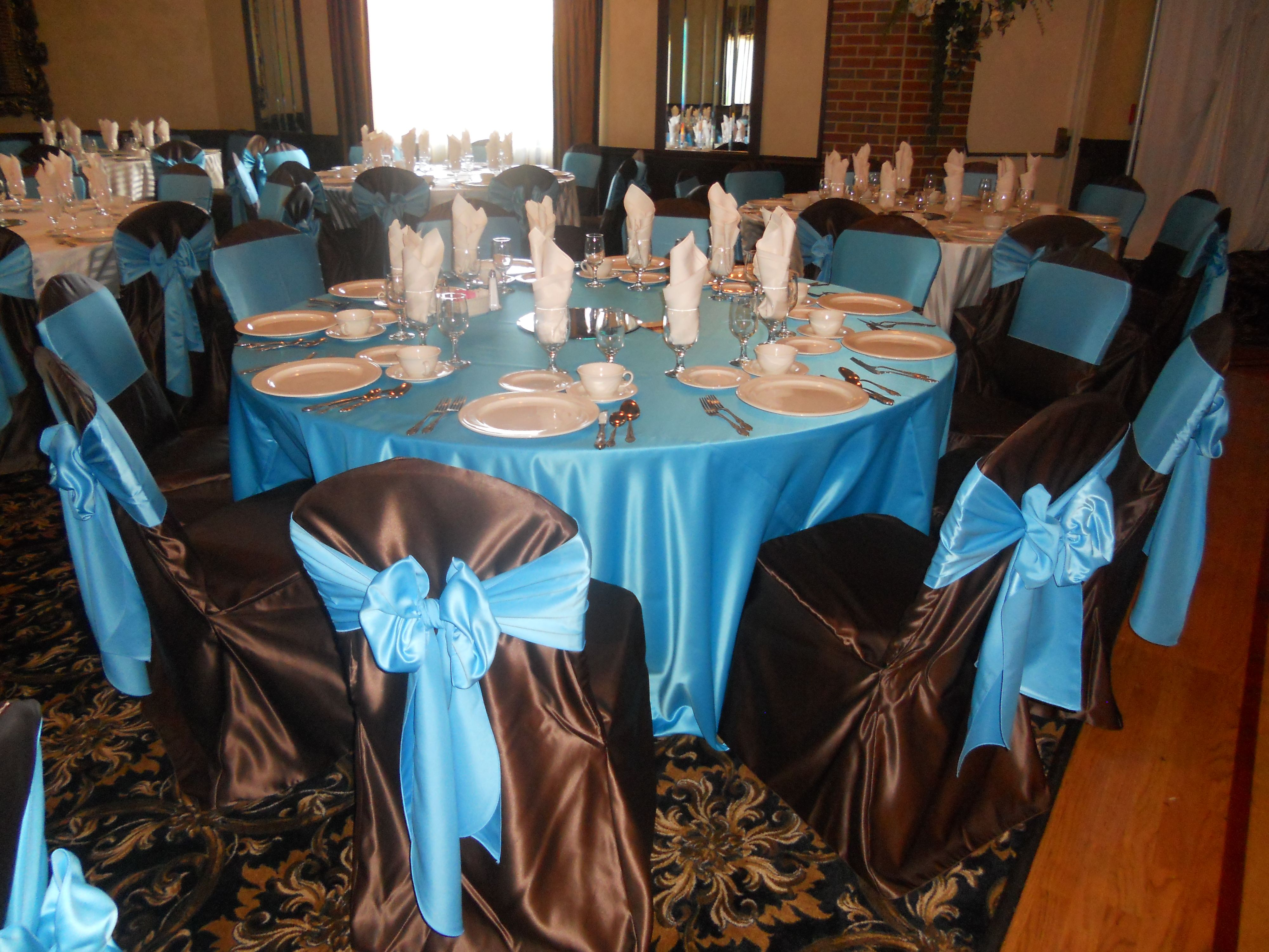 Brown Chair Covers with Turquoise Bow Ties