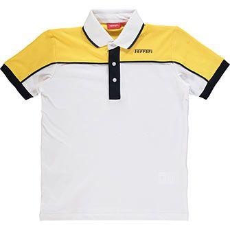 White & Yellow Logo Polo Shirt | Polo shirt outfits, Polo