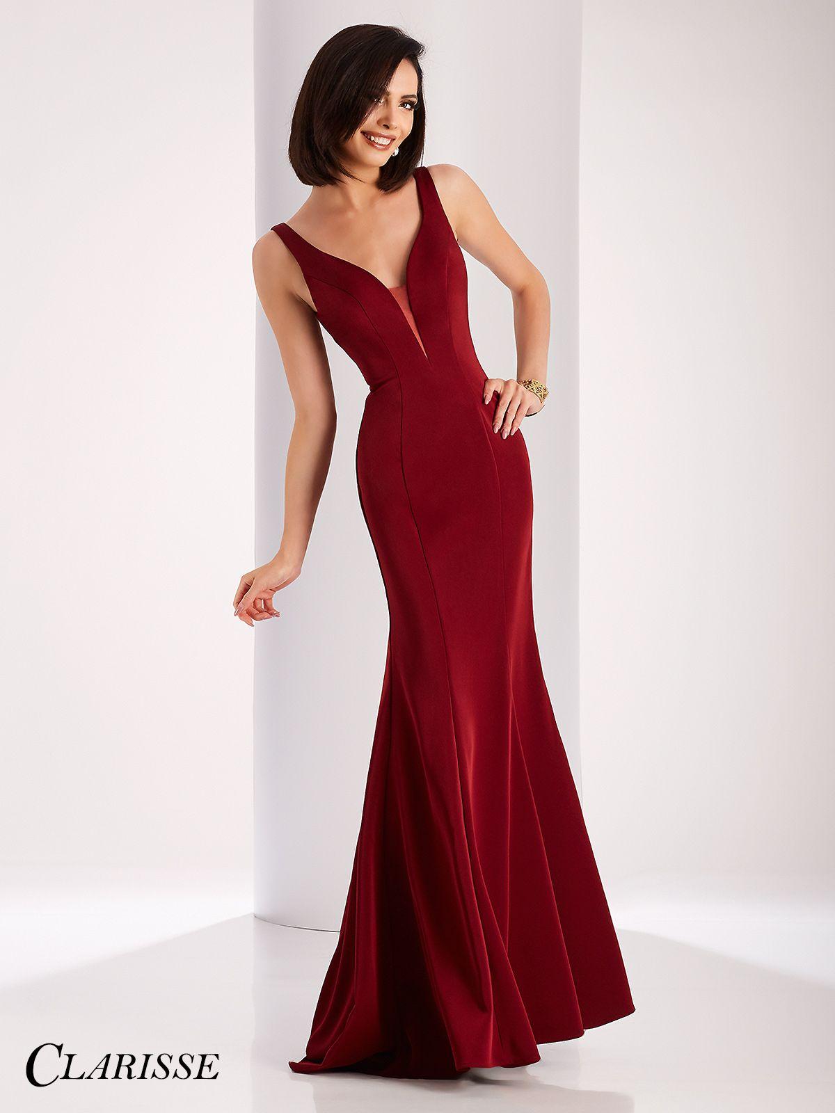 Clarisse elegant vneck satin prom dress red prom dresses