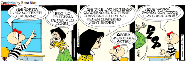 In this Condorito comic, the teacher talks about the verb ...