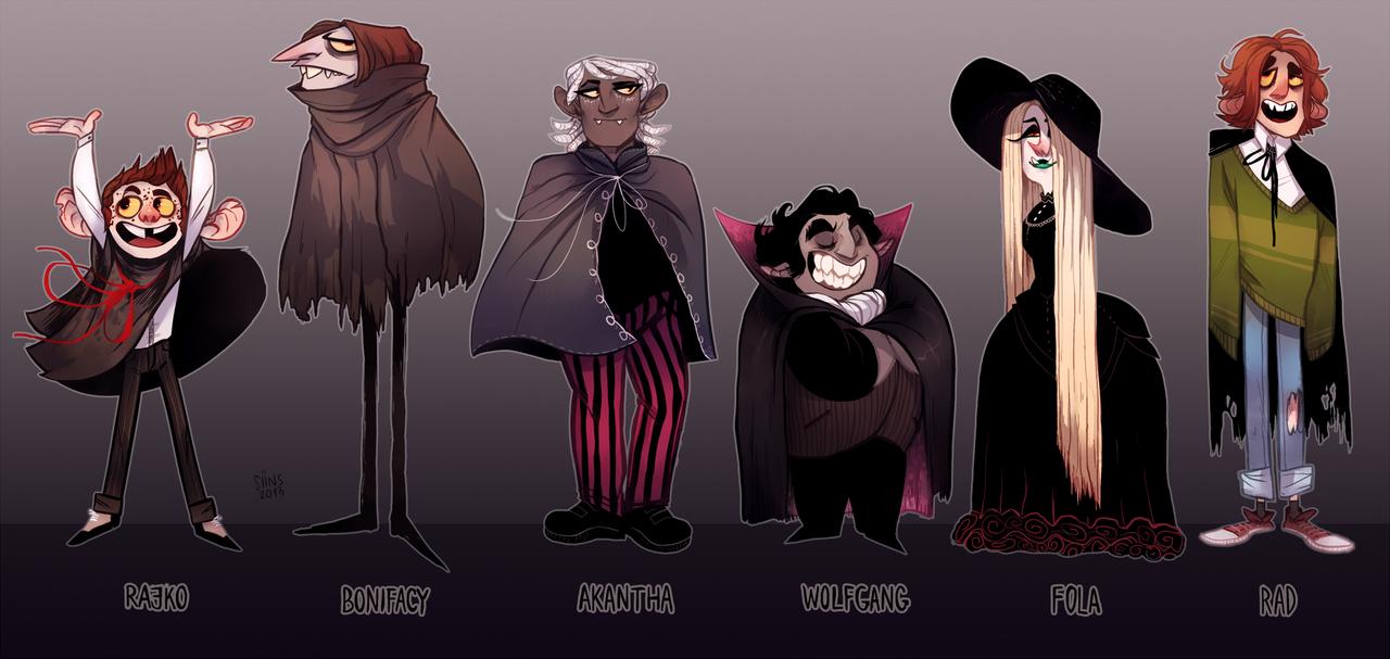 Character Design Challenge Vampire : Vampire oc lineup by siiins viantart on deviantart
