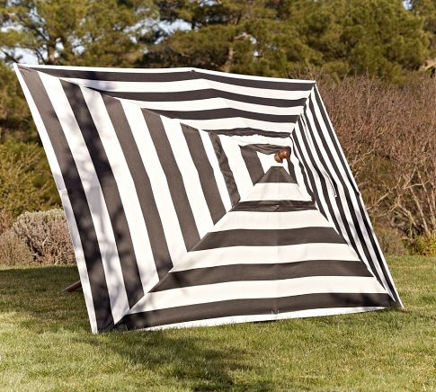 Sunbrella® Rectangular Umbrella   Black U0026 White Stripe | Pottery Barn
