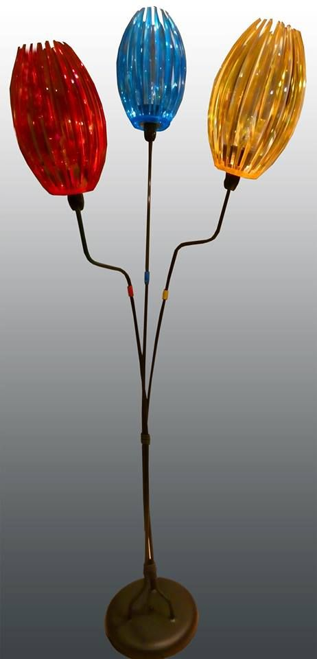 Atomic Metal 3-Way Tulip Floor Lamp with Acrylic/Lucite - use paper ...