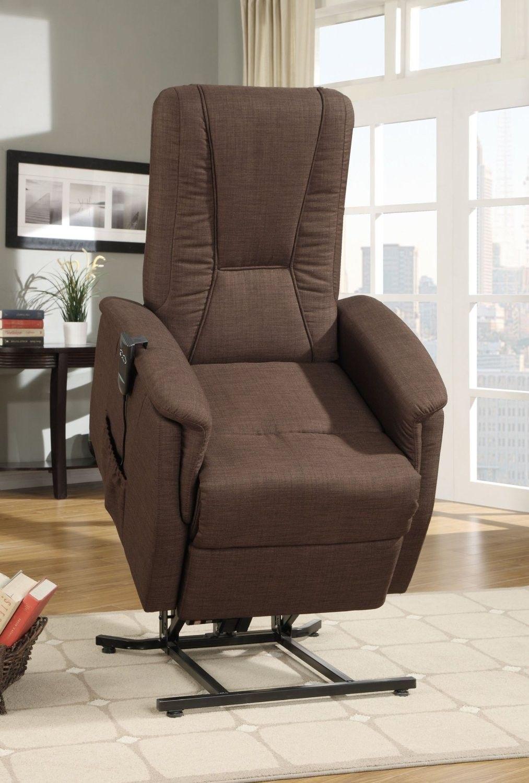 Glenson Collection Dark Brown Linen Power Lift Recliner Chair 9644DB 1LT By  Homelegance