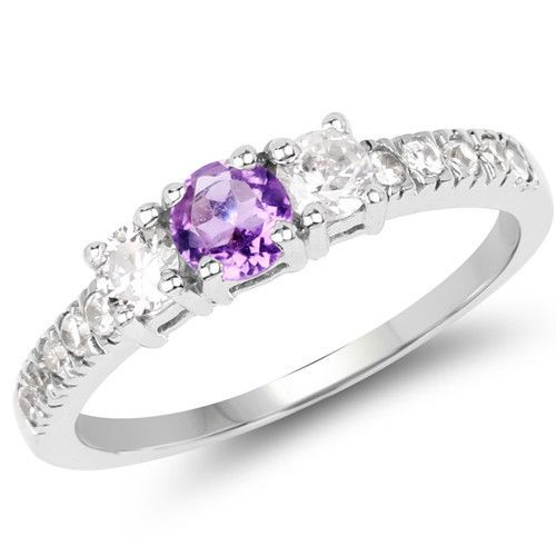 1.52 Carat Genuine Amethyst & White Cubic Zircon .925 Sterling Silver Ring