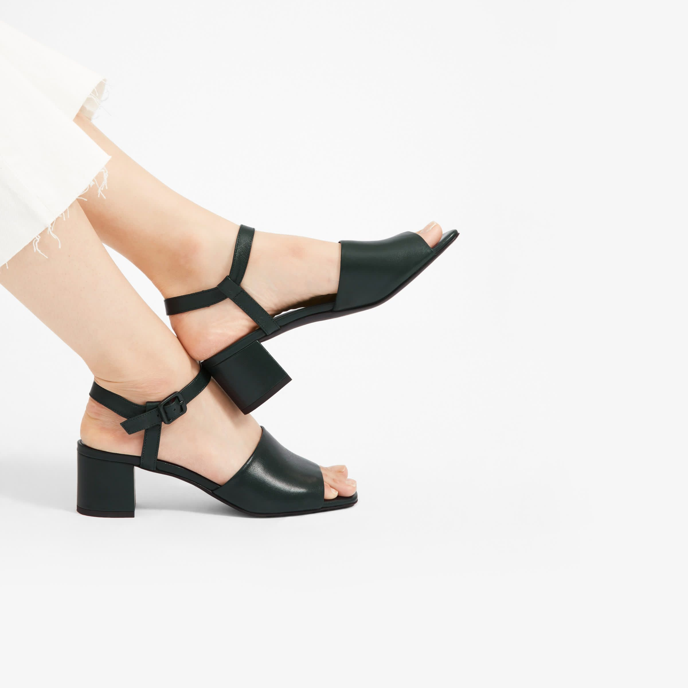 Women S Block Heel Sandal Dark Green Everlane Block Heels Sandal Black Block Heel Sandals Sandals Heels