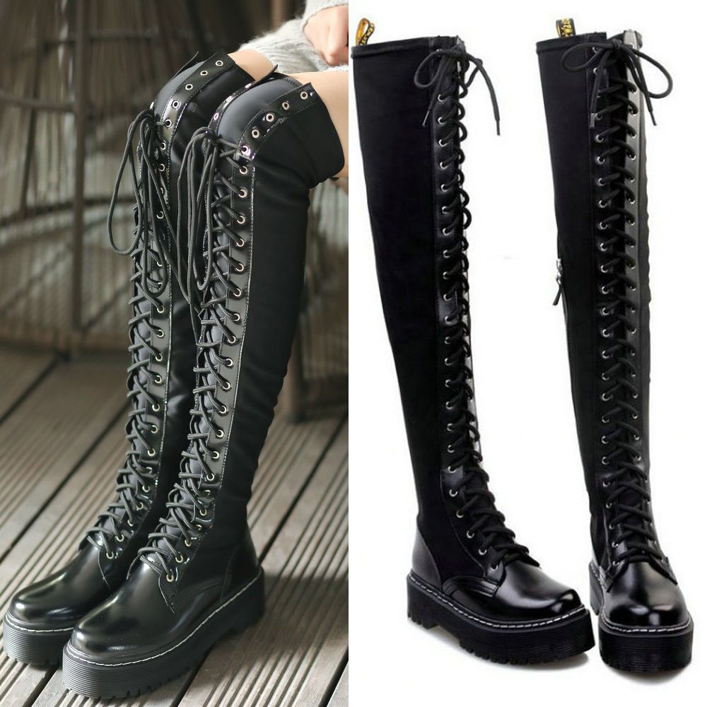 9c83d12ec80 Women s Gothic Punk Slouch Combat Boots Over Knee High Cow Leather Lace Up  Boots  Other  Military  Casual