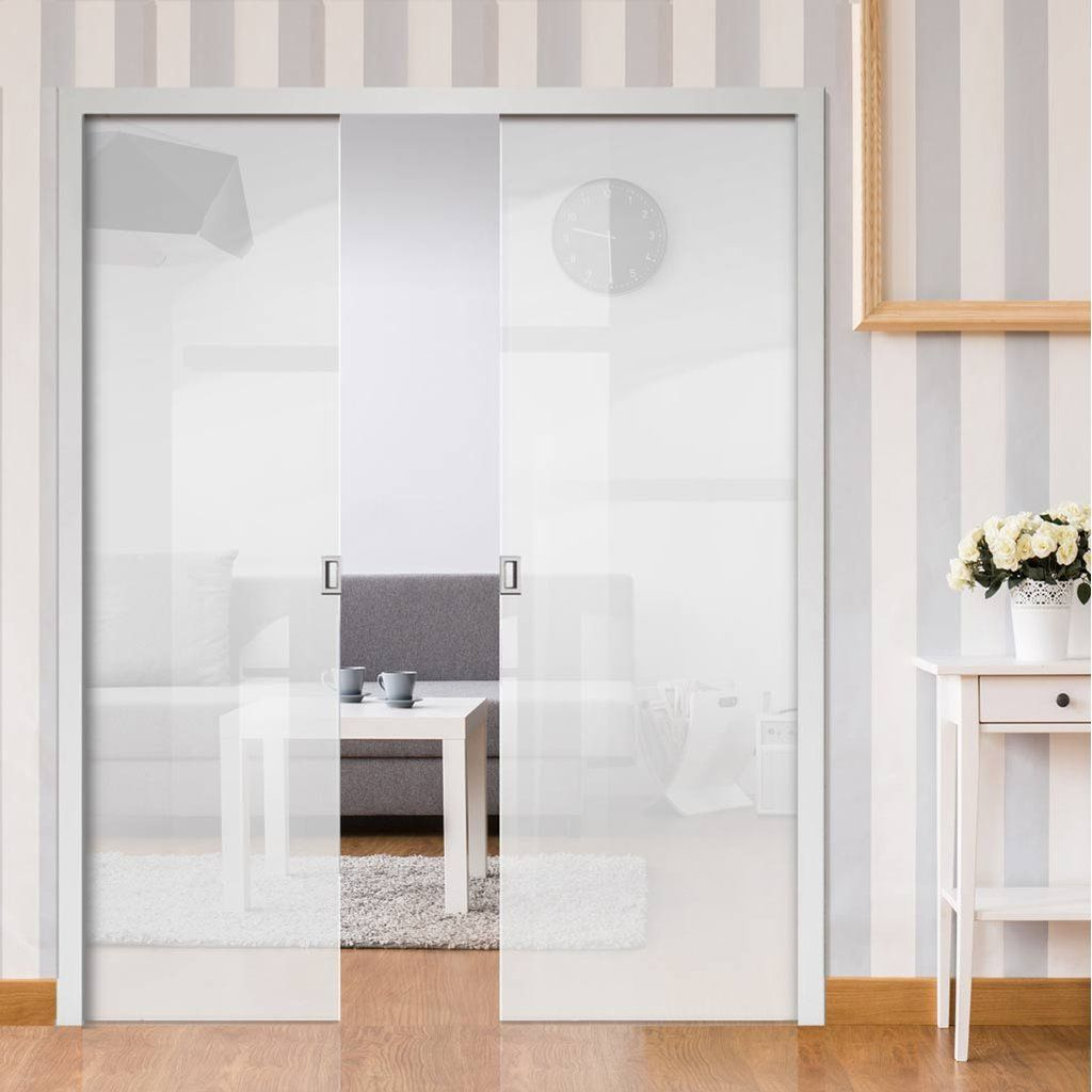 Eclisse 10mm Satin White Tinted Glass Double Pocket Door   8105.  #glasspocketdoors #doubleglassdoors