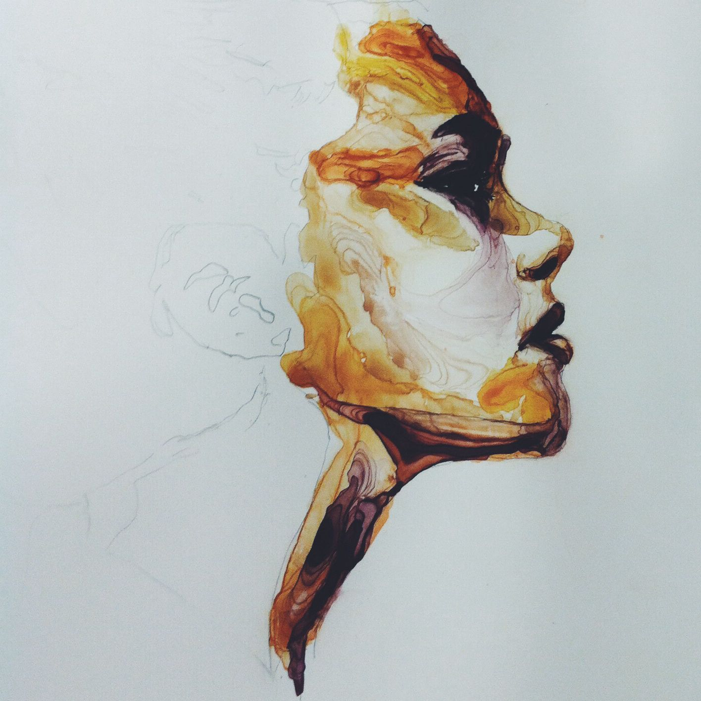 Profile portrait watercolor on Yupo - not finished