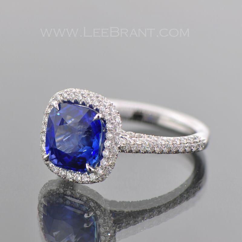 #Sapphire 4.54ct Center #CushionCut  Sapphire & Diamond Engagement Ring
