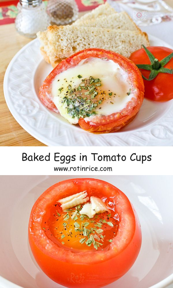 Fresh and delicious Baked Eggs in Tomato Cups with dried herbs, perfect for using up those juicy homegrown tomatoes and herbs. | RotiNRice.com