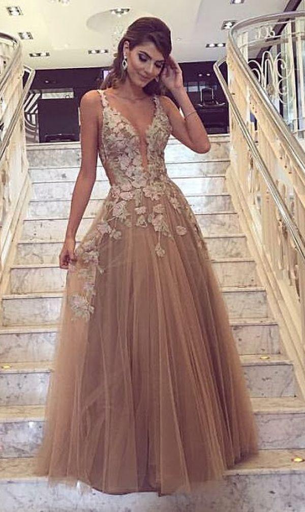 fiesta vestidos encaje de de Vestidos vestidos vestidos largos de champagne tul de fw5nxtSq6