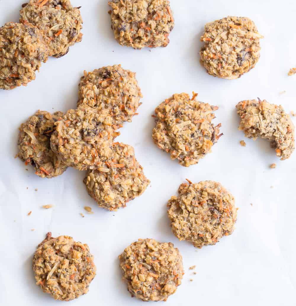 Healthy Carrot Cake Breakfast Cookies Wholesomelicious Recipe In 2020 Healthy Carrot Cakes Breakfast Cookies Carrot Cake Cookies