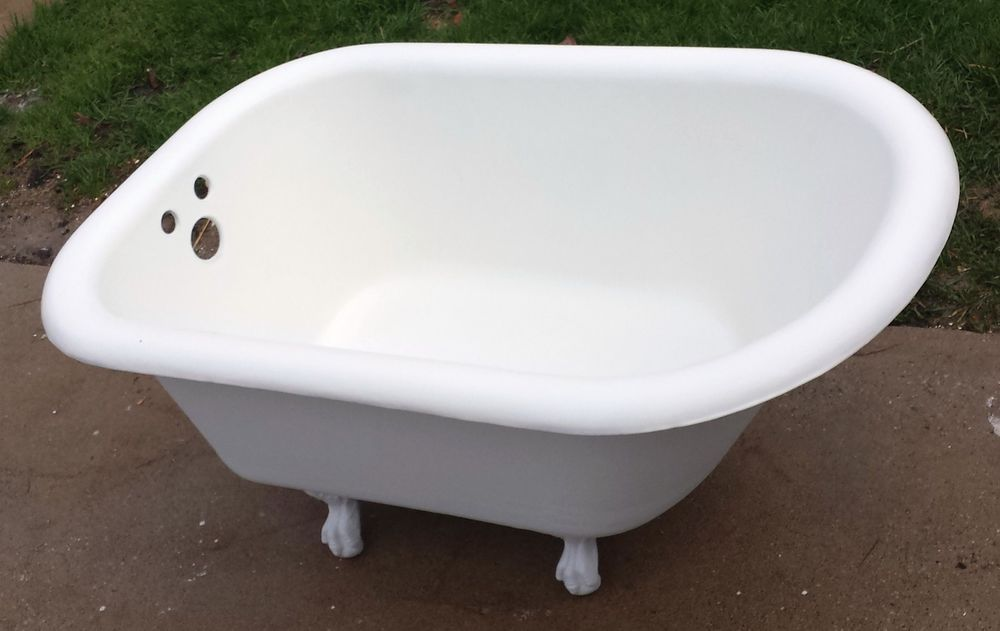 Antique Original Mini Cast Iron Bath Tub 4 ft. fleur de lis Eagle ...