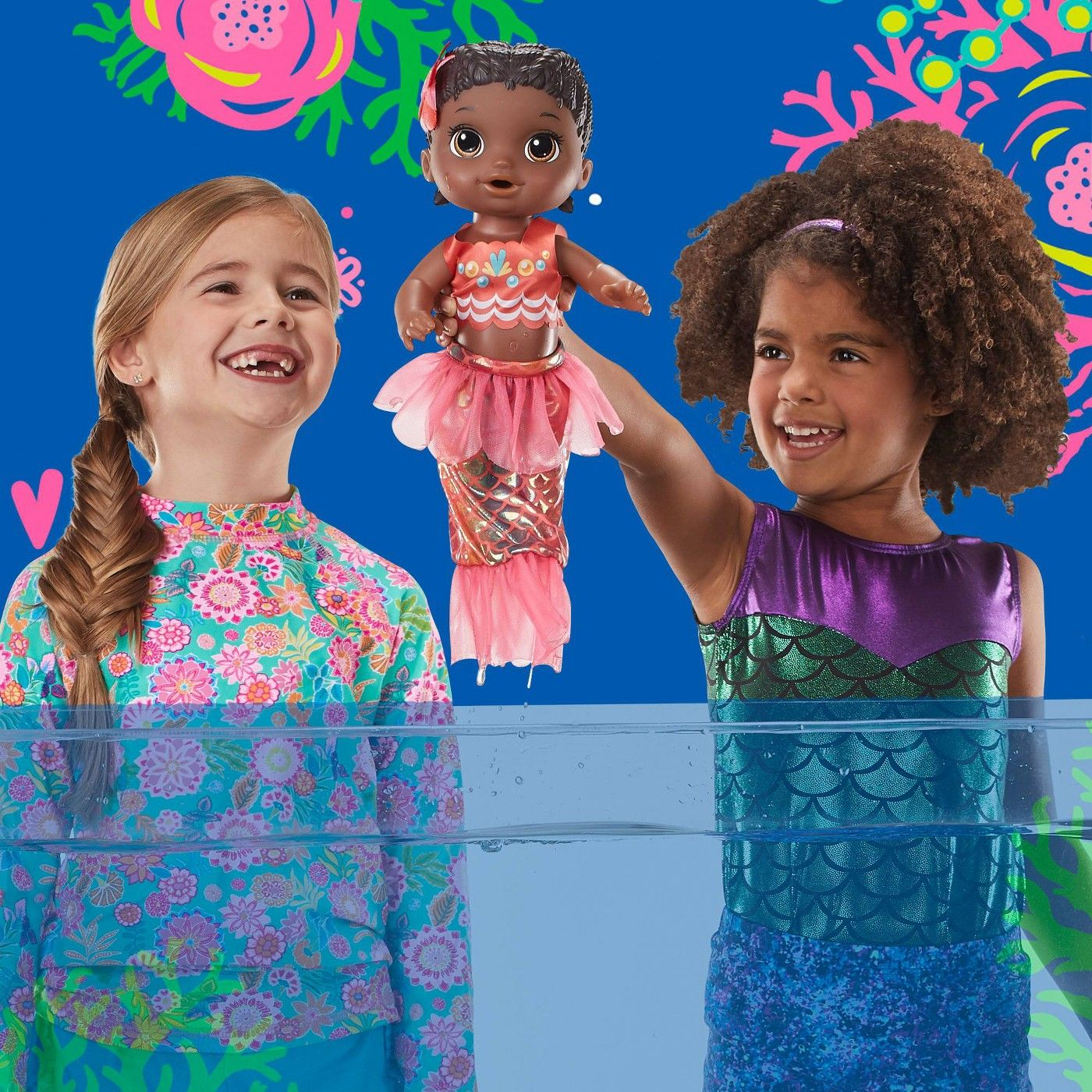 Baby Alive Shimmer 'n Splash Mermaid Baby Doll Pink Fin