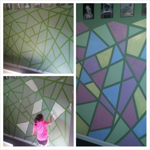 frog tape the walls to desired pattern paint different