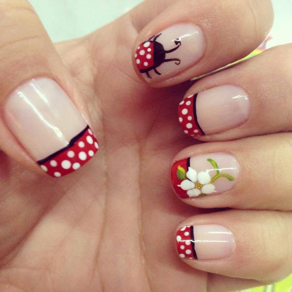 Red frances | Manicura de uñas, Uñas mariquitas y Uñas ...