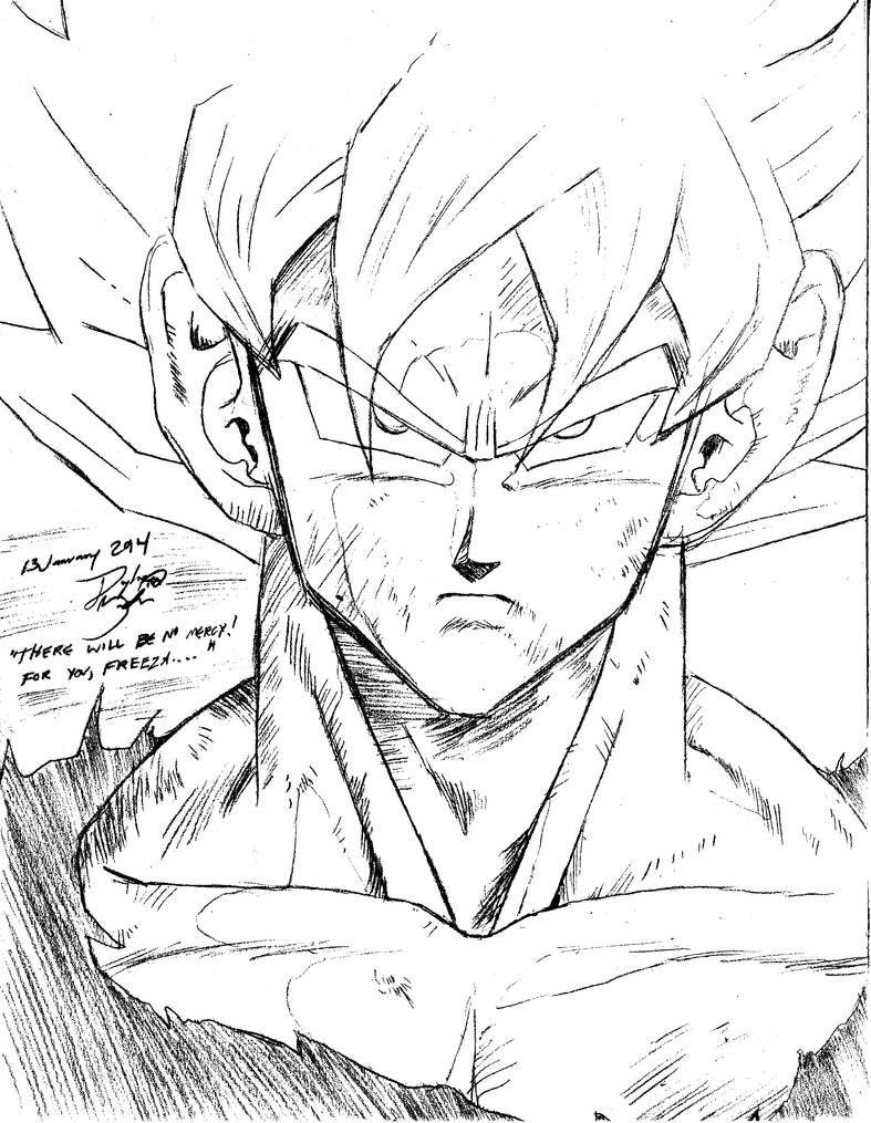 Son Goku Super Saiyan, Manga, Sketch Practice by GoxGo