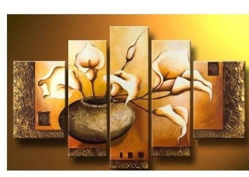 5 piece modern home decor wall oil painting art on flower bedroom ...