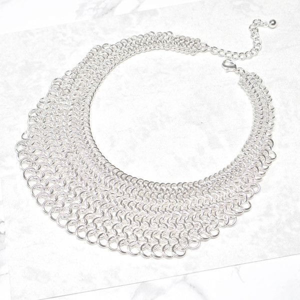 Jamie London Silver Chainmail Statement Necklace ($18) ❤ liked on Polyvore featuring jewelry, necklaces, silver necklace, silver jewellery, silver bib statement necklace, statement necklaces and silver statement necklace