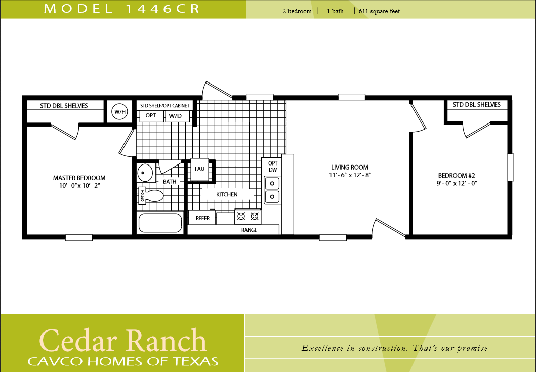 Marvelous One Bedroom One Bath Mobile Home #9: CAVCO-HOMES-FLOOR-PLAN-1446CR-2-BEDROOM-1-