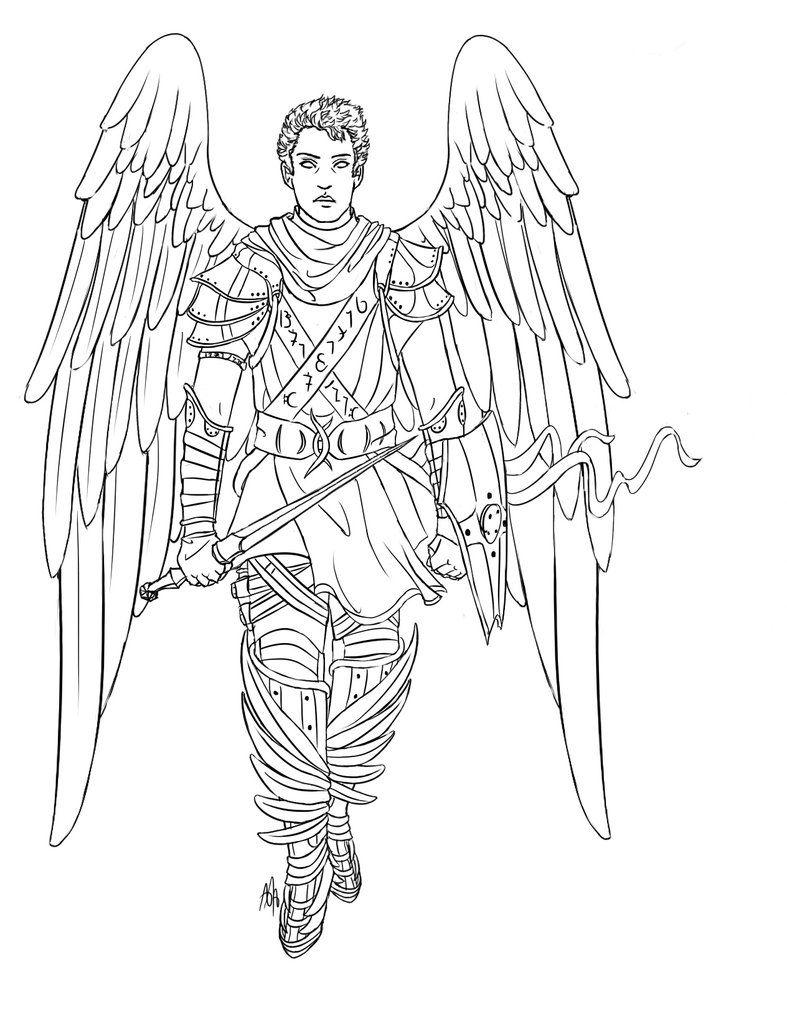 warrior baby angels coloring pages | warrior castiel by ...