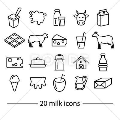 Milk Line Icons Clip Art Download Now 60631479 Line