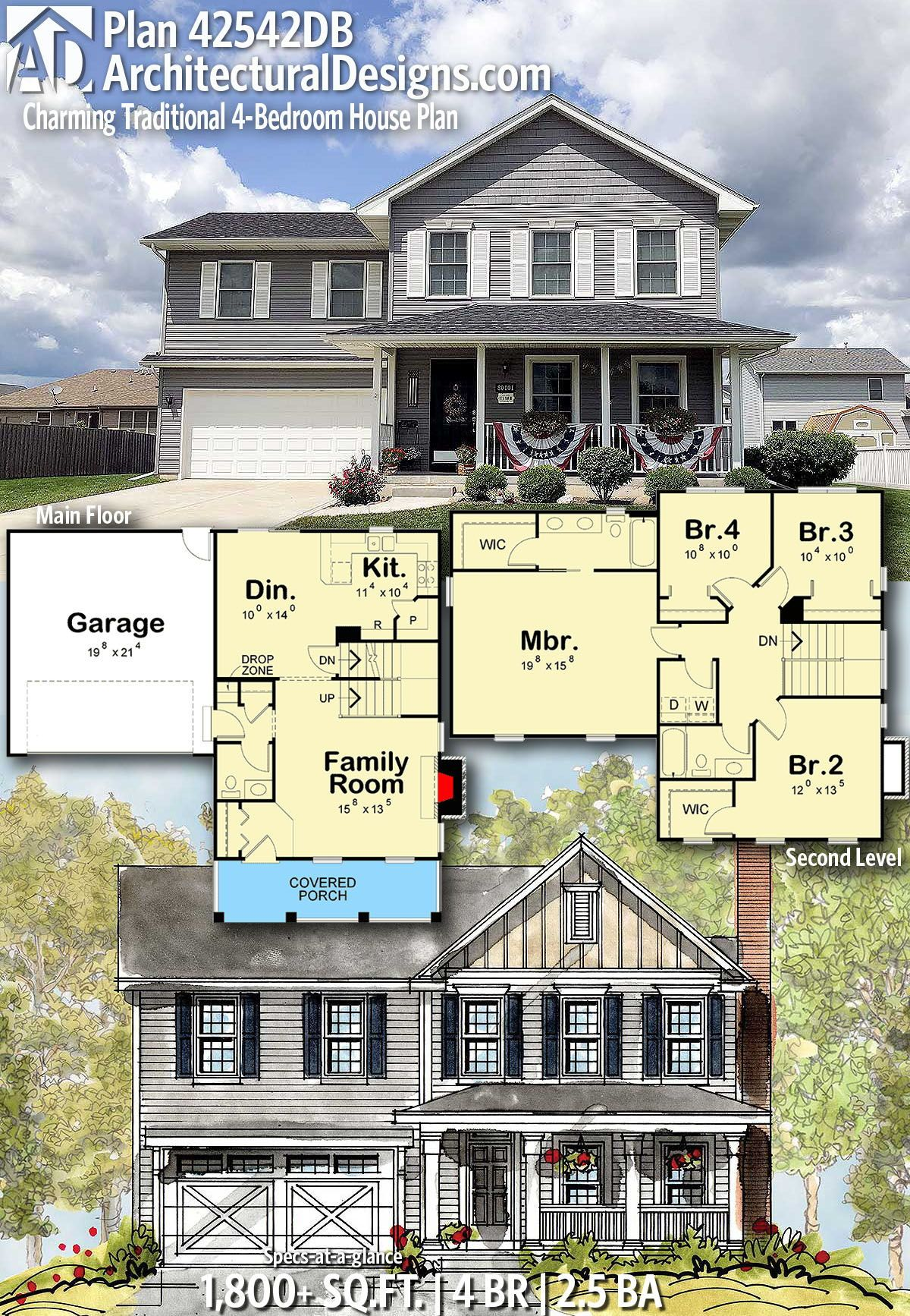 Plan 42543db 4 Bedroom Traditional Home Plan With Den House