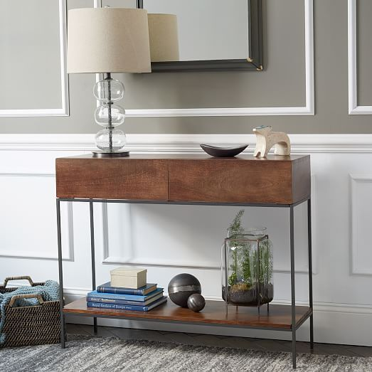 Rustic Storage Console West Elm For Living Room Wall