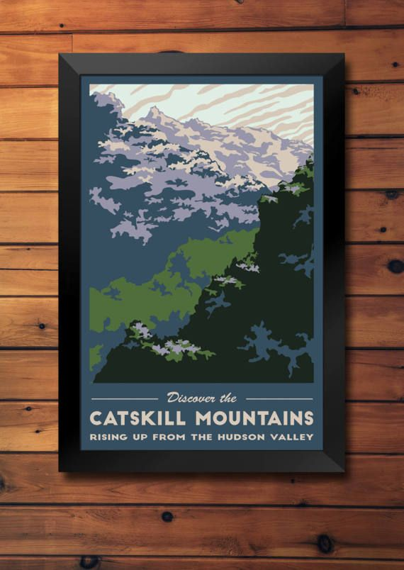 Catskill Mountains Vintage Travel Poster- Upstate NY